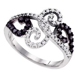 0.33 CTW Black Color Diamond Curl Ring 14KT White Gold - REF-38H9M