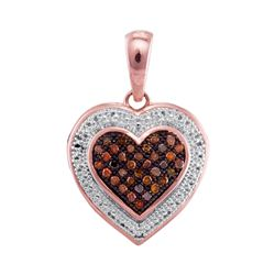0.12 CTW Red Color Diamond Heart Love Pendant 10KT Rose Gold - REF-14N9F