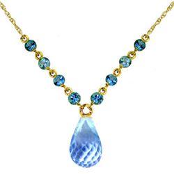Genuine 11.50 ctw Blue Topaz Necklace Jewelry 14KT Yellow Gold - REF-34W7Y