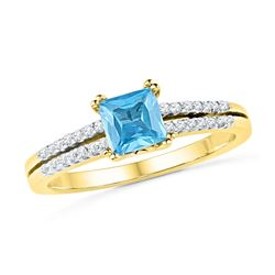 0.65 CTW Created Blue Topaz & Diamond Bridal Ring 10KT Yellow Gold - REF-22H4M