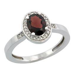 Natural 1.08 ctw Garnet & Diamond Engagement Ring 14K White Gold - REF-31G3M