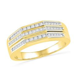 0.25 CTW Diamond Flat Side Arched Ring 10KT Yellow Gold - REF-36K7W