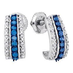 0.33 CTW Blue Color Diamond Half J Hoop Earrings 10KT White Gold - REF-26H9M