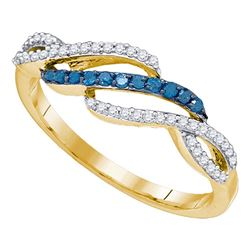 0.25 CTW Blue Color Diamond Woven Ring 10KT Yellow Gold - REF-18H2M