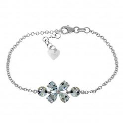 Genuine 3.15 ctw Aquamarine Bracelet Jewelry 14KT White Gold - REF-62X7M