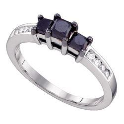 0.80 CTW Black Color Diamond 3-stone Bridal Ring 10KT White Gold - REF-26Y9X