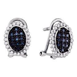 0.33 CTW Blue Color Diamond Oval Cluster Earrings 10KT White Gold - REF-20M9H