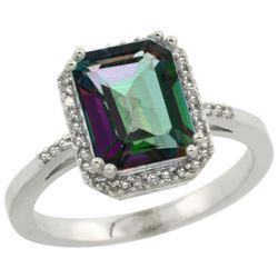 Natural 2.63 ctw Mystic-topaz & Diamond Engagement Ring 14K White Gold - REF-42V8F
