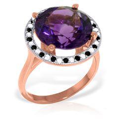 Genuine 6.2 ctw Amethyst, White & Black Diamond Ring Jewelry 14KT Rose Gold - REF-91M8T