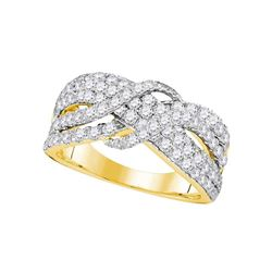 1.51 CTW Pave-set Diamond Crossover Strand Ring 14KT Yellow Gold - REF-139K5W