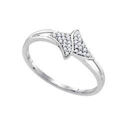 0.08 CTW Diamond Cluster Bypass Ring 10KT White Gold - REF-12W2K