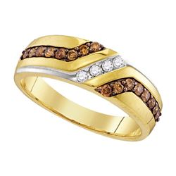 0.35 CTW Mens Cognac-brown Color Diamond Anniversary Ring 10KT Yellow Gold - REF-30F2N