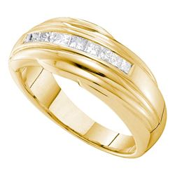 0.50 CTW Mens Princess Channel-set Diamond Single Row Ring 14KT Yellow Gold - REF-104X9Y