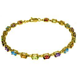 Genuine 5.46 ctw Garnet, Peridot & Citrine Bracelet Jewelry 14KT Yellow Gold - REF-96R7P