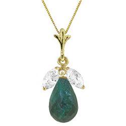 Genuine 9.3 ctw Green Sapphire & White Topaz Necklace Jewelry 14KT Yellow Gold - REF-28V9W