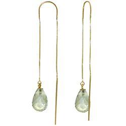 Genuine 4.5 ctw Green Amethyst Earrings Jewelry 14KT Yellow Gold - REF-20Y4F