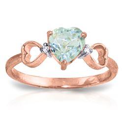 Genuine 0.96 ctw Aquamarine & Diamond Ring Jewelry 14KT Rose Gold - REF-44N3R