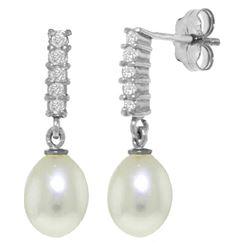 Genuine 8.15 ctw Pearl & Diamond Earrings Jewelry 14KT White Gold - REF-33N2R