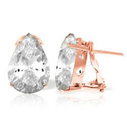 Genuine 10 ctw White Topaz Earrings Jewelry 14KT Rose Gold - REF-50N7R