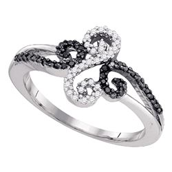 0.19 CTW Black Color Diamond Swirled Whimsical Ring 10KT White Gold - REF-14N9F
