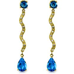 Genuine 4.35 ctw Blue Topaz & Diamond Earrings Jewelry 14KT Yellow Gold - REF-62H3X