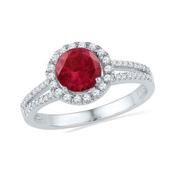 1.6 CTW Created Ruby Solitaire Diamond Halo Ring 10KT White Gold - REF-26K3W