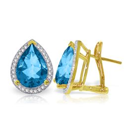 Genuine 9.32 ctw Blue Topaz & Diamond Earrings Jewelry 14KT Yellow Gold - REF-121H7X