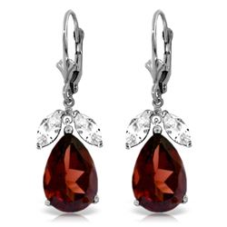 Genuine 13 ctw Garnet & White Topaz Earrings Jewelry 14KT White Gold - REF-69W3Y