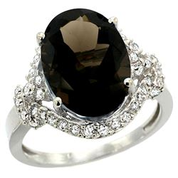 Natural 5.89 ctw smoky-topaz & Diamond Engagement Ring 14K White Gold - REF-88W8K