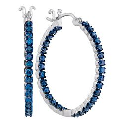 1.6 CTW Blue Color Diamond In/Out Hoop Earrings 10KT White Gold - REF-71W9K