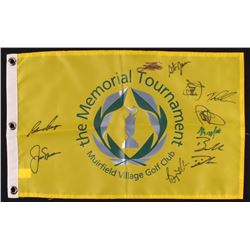 Memorial Tournament Muirfield Village Golf Club Pin Flag Signed by (11) Jack Nicklaus, Gary Player