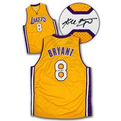 Kobe Bryant Los Angeles Lakers Autographed Yellow Custom Basketball Jersey: PSA