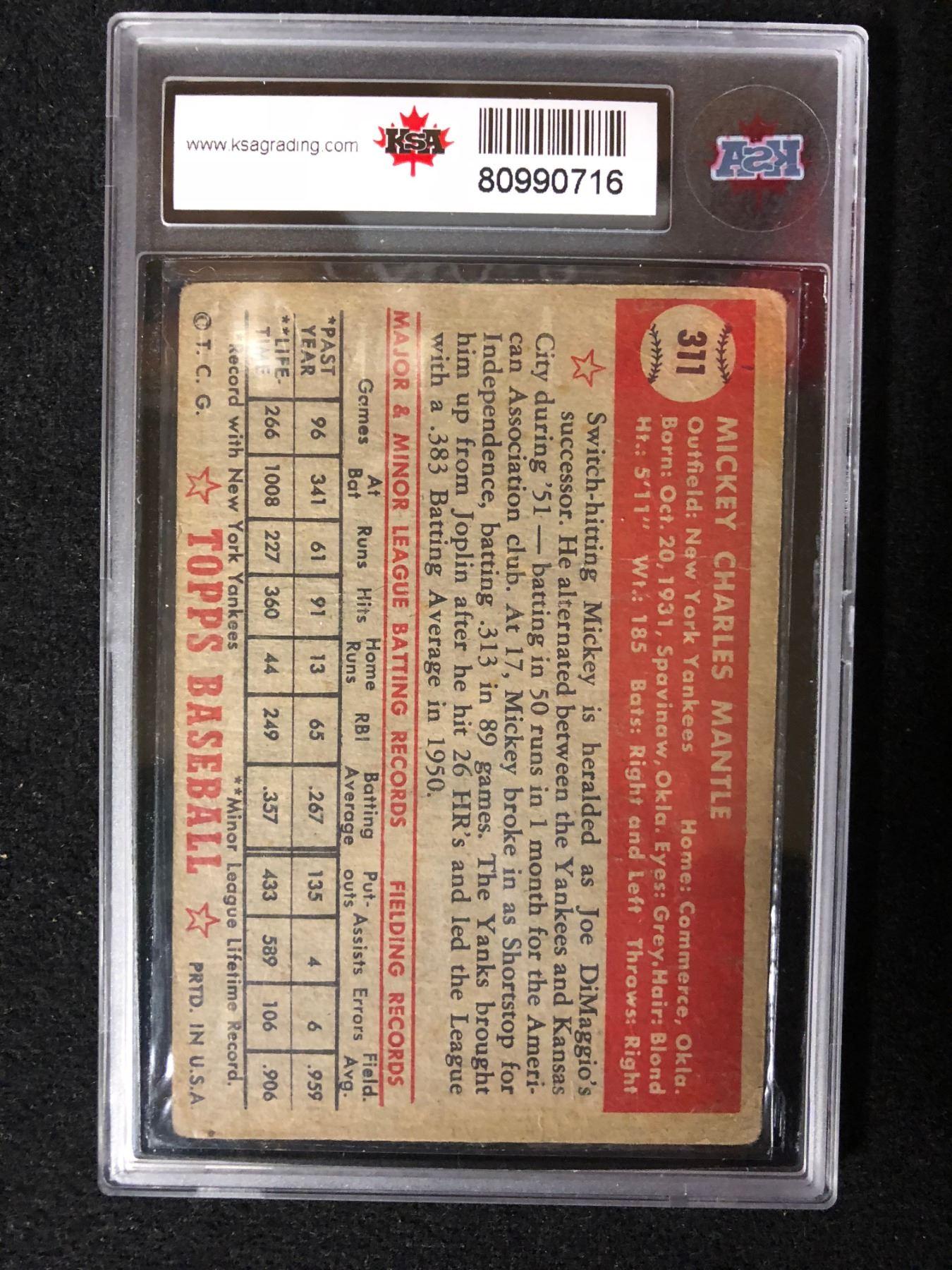 1952 Topps 311 Mickey Mantle Rookie Card Ksa Graded Rare