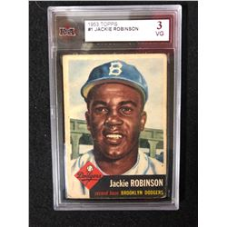 1953 TOPPS #1 JACKIE ROBINSON (3 VG) KSA GRADED