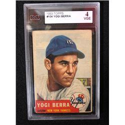 1953 TOPPS #104 YOGI BERRA (4 VGE) KSA GRADED