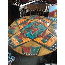 HAND CARVED NATIVE DINING ROOM TABLE BY JIMMY JOSEPH W/ 4 CHAIRS