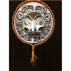 """HAND CARVED NATIVE ART MOON MASK BY ANDY WESLEY (36"""" DIAMETER)"""