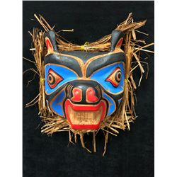 """HAND CARVED NATIVE WALL MASK """"BEAR"""" BY ANDY WESLEY (12"""" x 12"""")"""