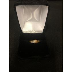 VINTAGE .375 SOLID GOLD DIAMOND BELT BUCKLE RING WITH APPROX .20 CARATS