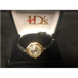 SOLID GOLD .375 OCTAGON 1920s WATCH WITH 15 JEWEL MOVEMENT WORKING GREAT