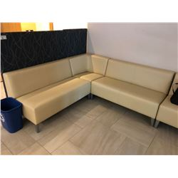 LARGE L-SHAPE LIGHT LEATHER RECEPTION SOFA UNIT WITH DARK FABRIC PATTERN PANELS