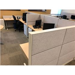 TEKNION 4 PERSON OFFICE CUBICLE STATION WITH MAPLE WORK SURFACES AND FILE PEDESTALS