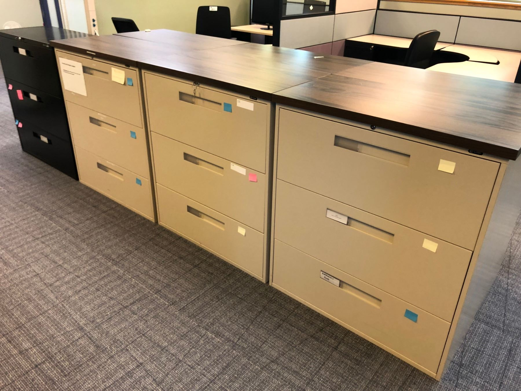 Lot Of 8 File Cabinets Inc 6 Beige 3 Drawer Lateral File Cabinet 1