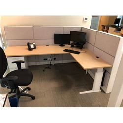 TEKNION 1 PERSON OFFICE CUBICLE STATION WITH MAPLE WORK SURFACES AND FILE PEDESTALS