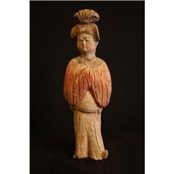 A lady pottery figurine. Condition as is, shown in photo
