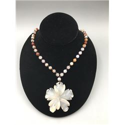 "A Deep-sea agate ""Flora"" pendant + colorful jade beads necklace. Condition as is, shown in photo."