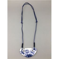 "A Contemporary blue and white porcelain ceramic tile, ""Flora"" pendant.Condition as is, shown in phot"