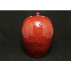 Early 20th Century Flambe-Glazed Jar and Cover. Condition as is, shown in photos.