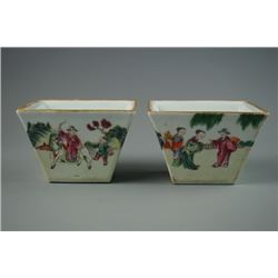 "A Pair of ""Da Qing Jia Jing Nian Zhi"" Mark Famille-Rose Square Cup. Condition as is, shown in photos"