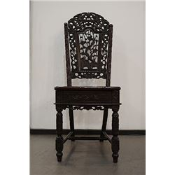 "Late Qing Dynasty ""Suan Zhi"" Carved ""Dragon, Floral and Bamboo Pattern"" Chair. Condition as is, show"